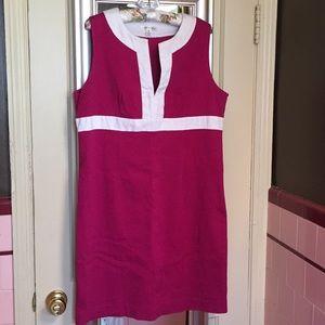John Paul Richard XL raspberry/white waffle dress